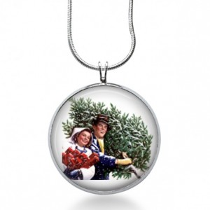 Couple with a Tree Necklace - Christmas Jewelry - Holiday Pendant - Christmas