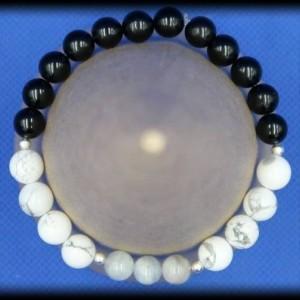 Howlite, Aquamarine and Black Tourmaline Bracelet for Anxiety