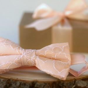 Peach Lace Bow Tie - Peach Mens Bow Tie - Peach Pre-Tied Bow Tie - Peach Bow Tie - Peach Bow Tie - Wedding Bow Tie - Groomsmen Gifts
