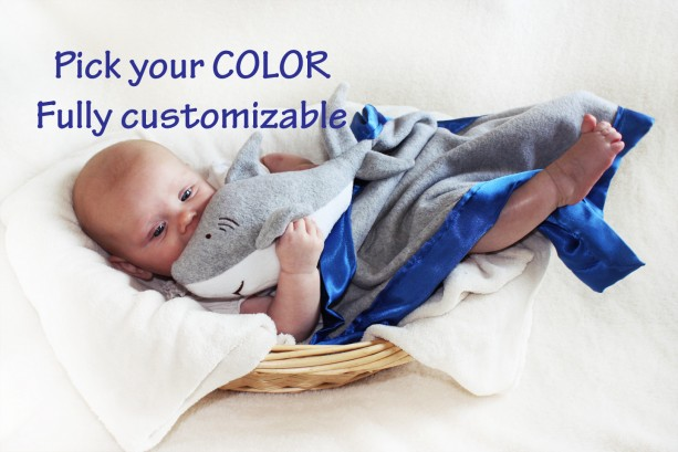 Great White Shark Security Blanket, Lovey Blanket, Satin, Baby Blanket, Stuffed Animal, Baby Toy - Customize Color - Monogramming Available
