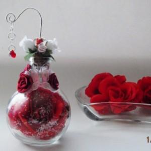 Rose in a glass cognac bottle Butterflies Hearts Roses Lampwork Glass Keepsake