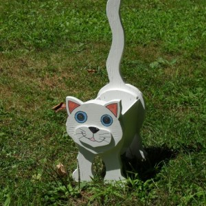 """Snowball"" White cat planter box"