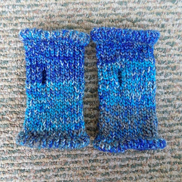 'Shades of Blue' Knit Fingerless Gloves