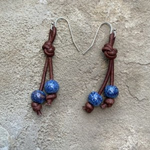 Leather and blues earrings
