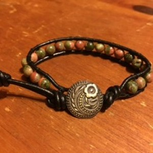 Leather Unakite Wrap Bracelet