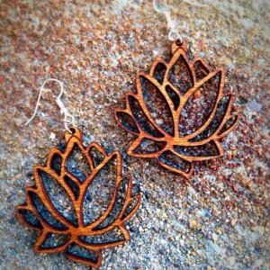 Wooden Lotus Flower Outline Dangle Earrings - FREE US SHIPPING
