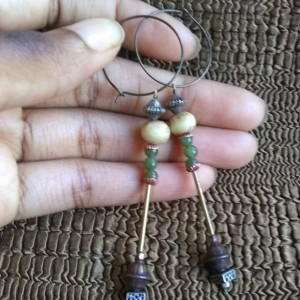 jade green romantic dangles of copper and horn Valentine's gift for the sweetheart