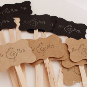 Drink Stir Sticks, Wedding Mr and Mrs Stamped Drink Sticks, Rustic Country Wedding Shower Drink Stirrers, Signature Drink Stir Sticks, 25 PC