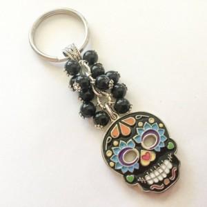 Sugar Skull Keychain, Day of the Dead Keychain, Skull Keyring, DDLM, Dia de Los Muertos, Calavera, Sugar Skull Purse Charm, Skull Bag Charm