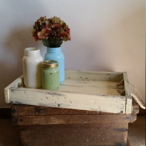 Rustic, handmade and hand painted wooden tray