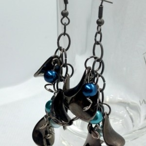 Dark Silver Petal Drop Dangle Earrings with Light Teal, Teal and Electric Blue Pearl Beads and Silver Twist Accents by Cumulus Luci
