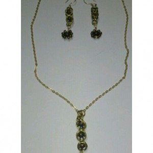 Encased Bead Pendant on Gold Plated Chain with matching Earrings