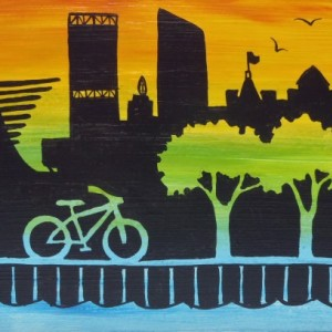 """Milwaukee Skyline 10"" original painting"