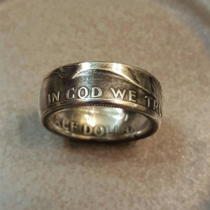 Benjamin Franklin Half Dollar Silver Coin Ring