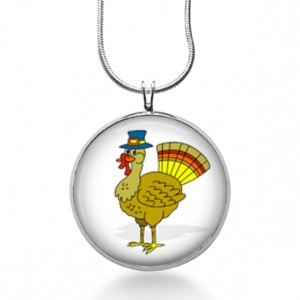 Turkey Necklace - Thanksgiving Jewelry - Turkey in Hat Pendant - Fall