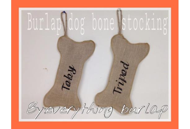 Burlap dogbone stocking