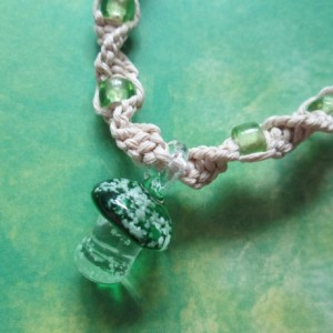 Handmade Natural Hemp Necklace with Awesome Green Glass Mushroom Pendant and Matching Green Glass Beads- Glass Glow Pendant