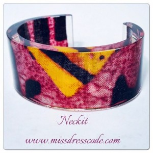 Pink and Yellow Themed African  Print Fabric in Resin Cuff Bangle