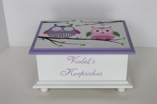 Baby Keepsake Memory Box -  lavender owls personalized baby gift