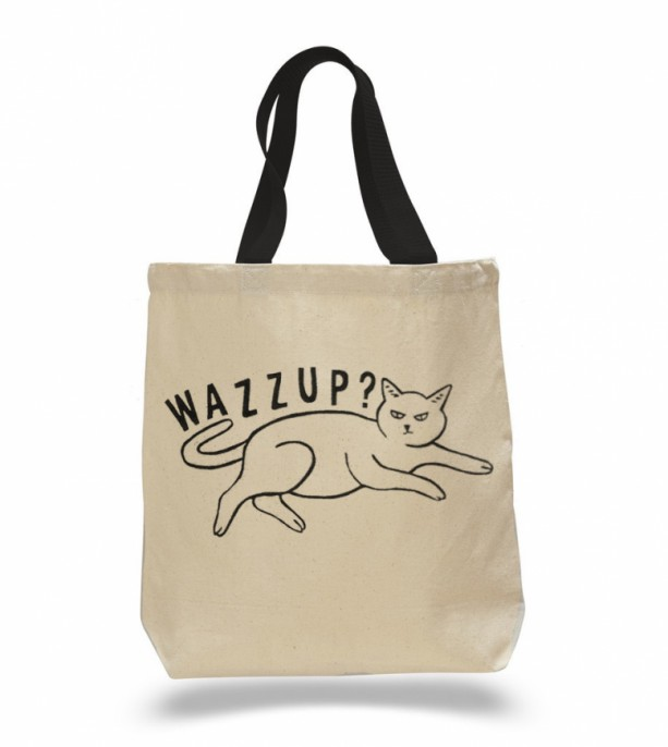 Black cat canvas tote bag, wazzup?, natural, shoulder bag, shopping bag, reusable grocery, halloween, trick or treating, large tote