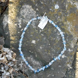 Necklace - Blue Aurora Borealis Crystals Beads and Clear Crystal Chips Beads