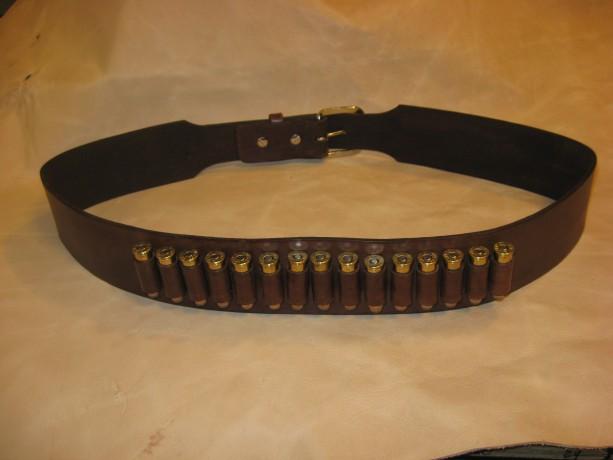 Western Leather Gun Belt w/Cartridge Loops Gun Slinger Style Gun Belt