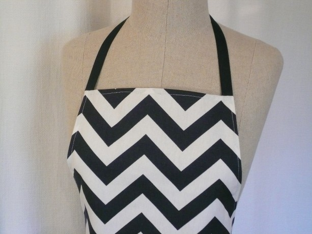 Navy Chevron Apron with Pocket and Ruffle - Free Shipping