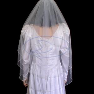 "2 tier Knee Length Rhinestone veil 36""/42""  edged with rhinestone chain"