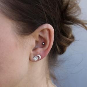 Sterling Silver Moon Phase Stud Earrings