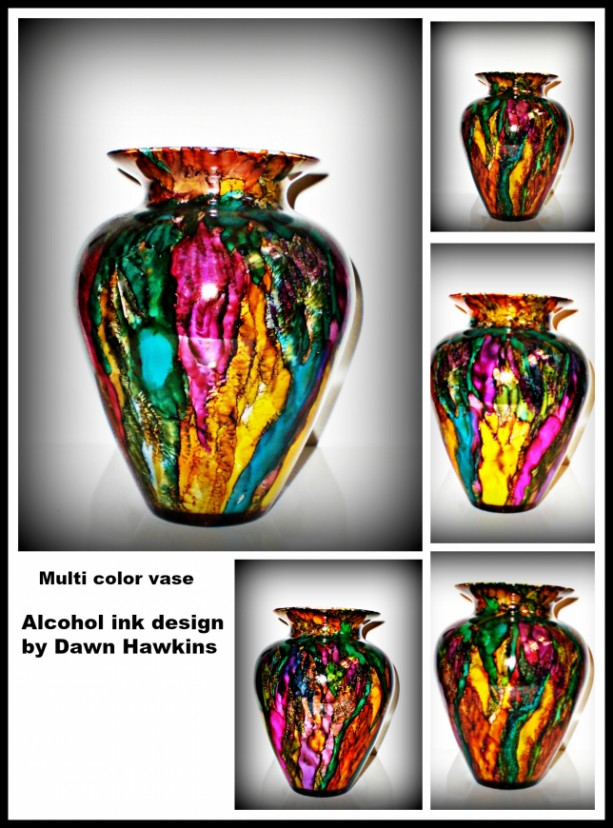 vase, alcohol ink design vase