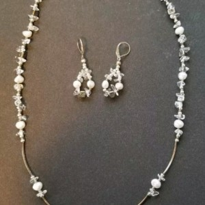 Stunning Dendritic Opal Pendant Necklace with Matching Earrings