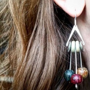 Bohemian Sterling Silver Dangle Earrings with Wooden Beads Boho Jewelry