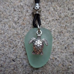 sea glass neckalce sea green w. turtle charm