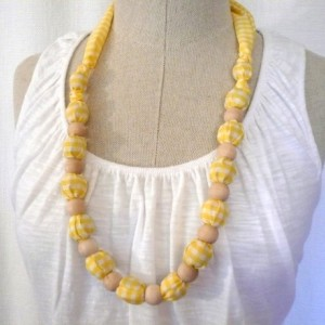 Yellow Gingham Fabric Necklace