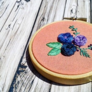 Flower Trio Hand Embroidery Hoop- Wall Art (3 inch)