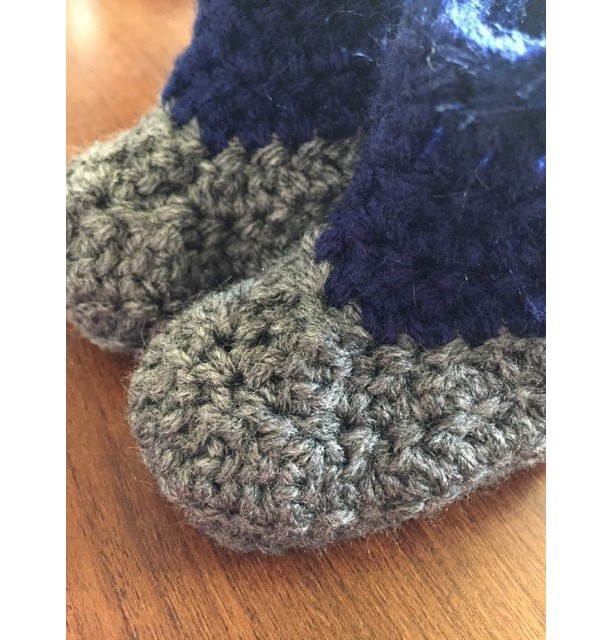 0/6 Month Grey & Navy Baby Boys Crocheted Cowboy Boots