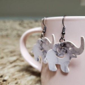 Elephant Faux Leather Earrings