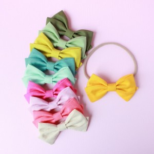 Clip or Headband fabric bow, little girl hair, newborn baby