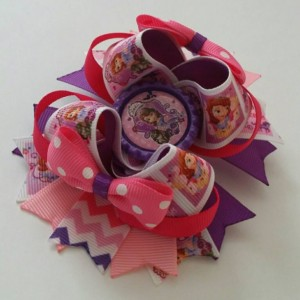 Sofia the first inspired Stacked Boutique Hair Bow - Sofia Hair Bow - Sofia Hair Clip - Sofia Birthday - Princess Sofia Bow - Sofia Bow