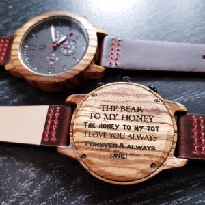 UD Mens Fashion Multi-Function Chronograph Round Wooden Watch Face with Premium Leather Strap