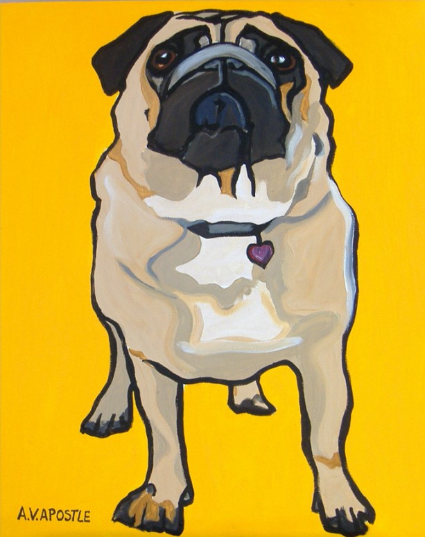 DOG PRINT- Pug Dog- Yellow Background- Signed by Artist A.V.Apostle
