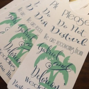 Wedding Door Hanger- Set of 10 hangers. personalized door hanger for out of town guests. Destination wedding door sign