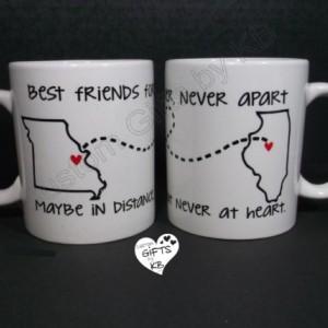 Best Friends Forever Mug (1 mug), BFF Miss you , State and city mug, custom mugs, custom text, distance mug, birthday gift, going away