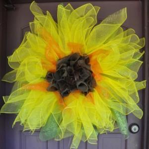 Sunflower Deco mesh and Burlap Wreath
