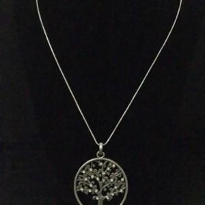 Gunmetal Detailed Tree Necklace