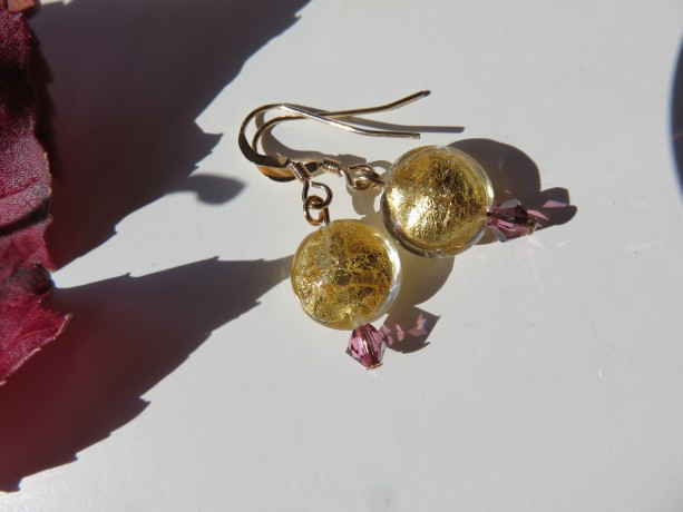 Sun Drop Earrings with Swarovski rose satin