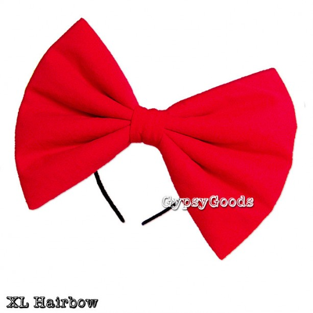 XL EXTRA LARGE Hair Bow Adult Big Cosplay Costume Head Band Flannel Red Black Pink Bright Pink Blue White Yellow Padded Halloween Holiday