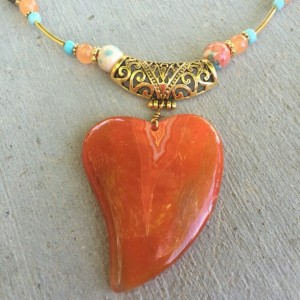 Semiprecious fancy jasper, south American topaz, heart shaped agate pendant necklace and earrings
