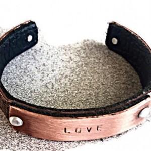 Copper Cuff, Copper Anniversary Bracelet, Personalized Anniversary Bracelet Gift, Copper Gift, Leather Bracelet