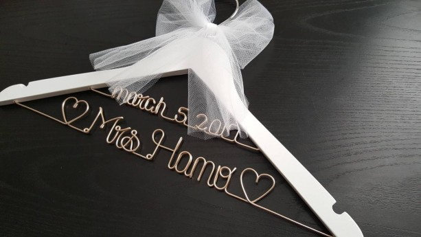 White 2 line wedding hanger / MRS Hanger/ Wedding dress hanger/ Bride hanger